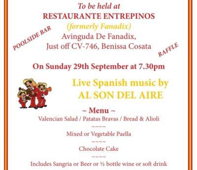 Spanish evening, Sept. 29th. Rest Entrepinos, Benissa Costa