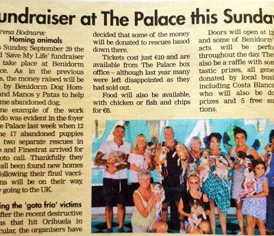 Fundraiser, Benidorm, Sept 29th.