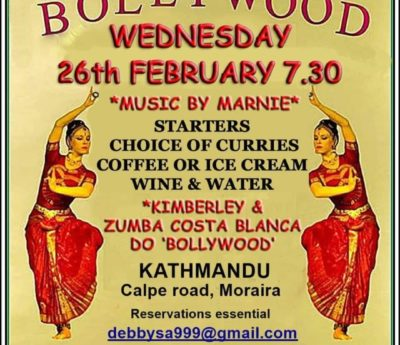 Bollywood evening, Moraira, Feb 26th.